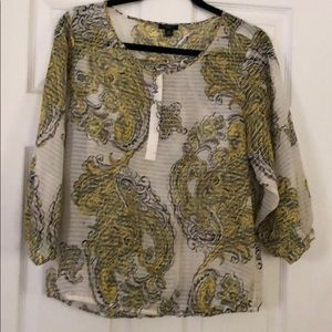 Yellow and white paisley blouse